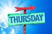 picture of thursday  - Thursday sign with sky background - JPG