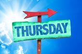 pic of thursday  - Thursday sign with sky background - JPG