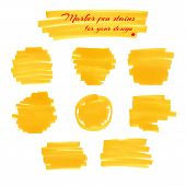 picture of marker pen  - Yellow marker pen spots and lines isolated on a white background for your design - JPG