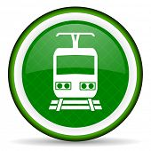 picture of railroad-sign  - train green icon public transport sign  - JPG