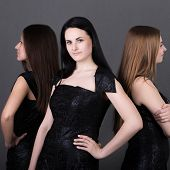 stock photo of outfits  - Three beautiful girls with different types of appearances and beauty - JPG