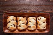 foto of phyllo dough  - Apple strudel on a wooden plate - JPG