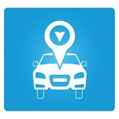 image of gps  - Car GPS symbol in blue square button - JPG