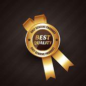 image of rosette  - best quality golden rosette label badge design vector illustration - JPG