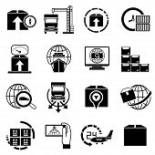 picture of shipping receiving  - set of 16 logistic and shipping icons - JPG