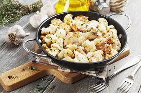 image of pot roast  - Roasted cauliflower with chicken in the frying pan - JPG