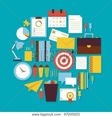 Business Workplace And Office Vector Flat Design Circle Shaped Objects Set With Shadow