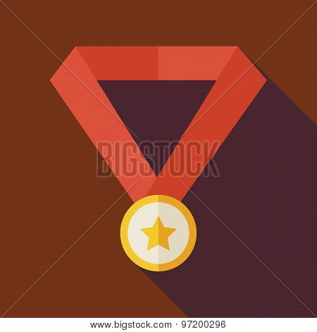 Flat Award Gold Medal With Star Illustration With Long Shadow