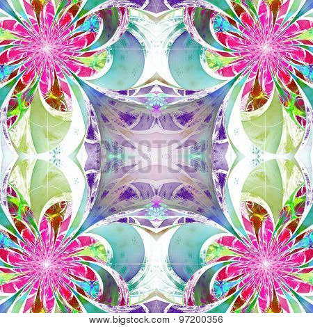 Pattern From Fractal Flowers. Purple, Blue And Green Palette. Fractal Design. Computer Generated Gra