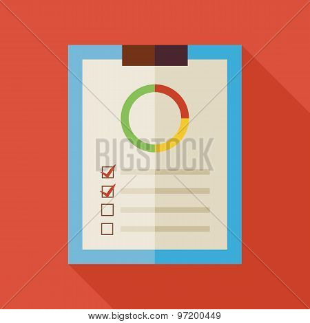Flat Business Office Clipboard Illustration With Long Shadow