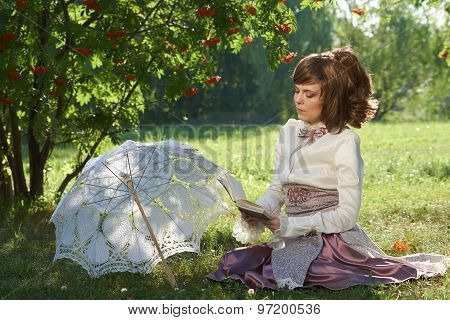 Girl Sits And Read Book