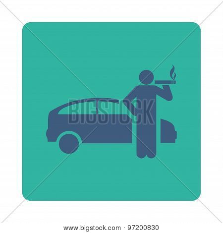 Smoking Taxi Driver Flat Icon