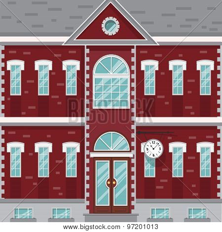 Mansion, red and white old building with clock on the wall. Flat vector illustration