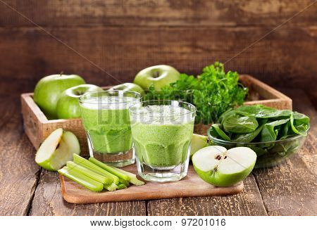 Glasses Of Green Juice With Apple, Celery And Spinach