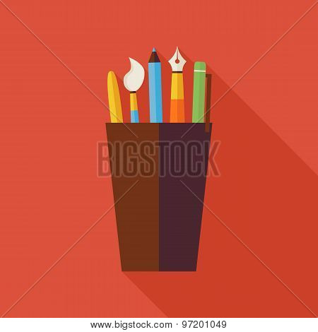 Flat Cup With Office Writing Supplies Tools Illustration With Long Shadow