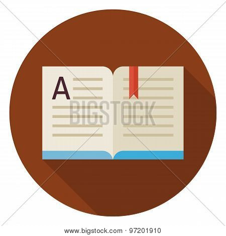 Flat Education Reading Open Book Circle Icon With Long Shadow