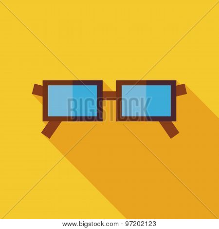 Flat Eye Glasses Illustration With Long Shadow