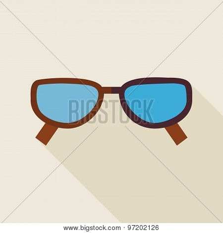 Flat Fashion Accessory Glasses Illustration With Long Shadow