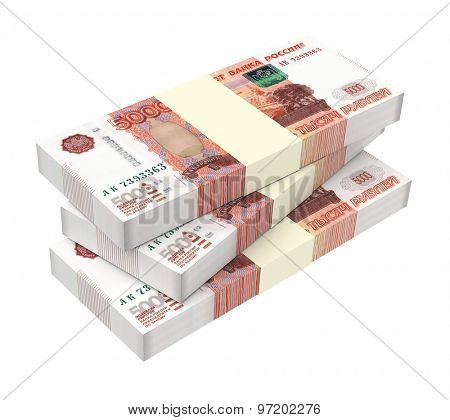 Russian money isolated on white background. Computer generated 3D photo rendering.