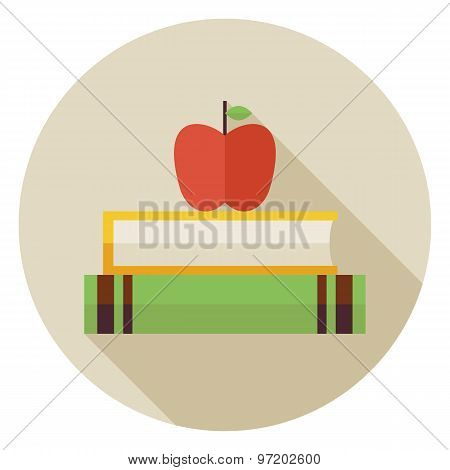 Flat Knowledge Book With Apple Circle Icon With Long Shadow