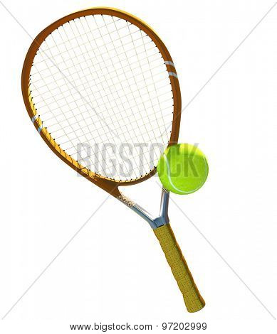 Green tennis balls and racket on isolated.