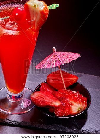Strawberry cocktail with cherry and pineapple in highball glass . Cocktail card 80.