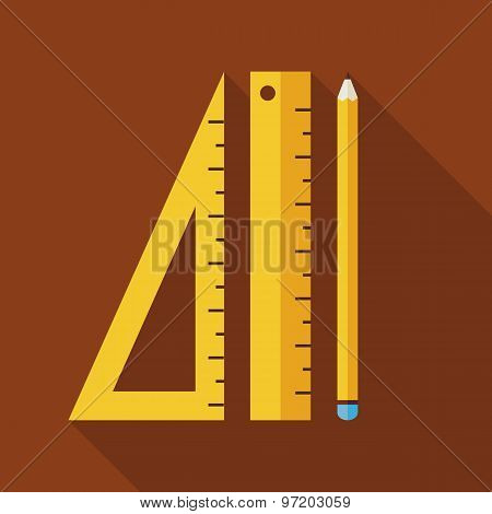 Flat Measure Drawing Instruments Illustration With Long Shadow