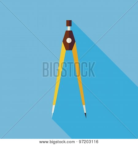 Flat Office Measurement Instrument Compasses Illustration With Long Shadow