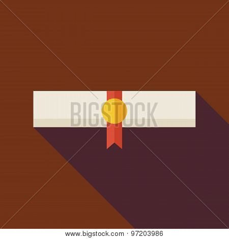 Flat Paper Graduate Diploma Illustration With Long Shadow