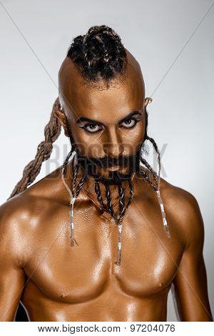 Face Powerful Gold Arab Warrior