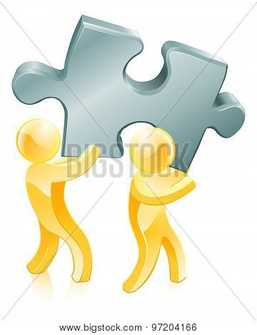 Jigsaw Piece Gold People