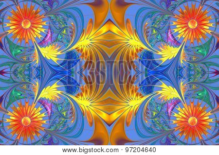 Flower Pattern In Fractal Design. Orange And Blue Palette. Computer Generated Graphics.