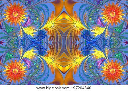 Flower Pattern In Fractal Design. Orange And Blue Palette. Computer Generated Graphics.