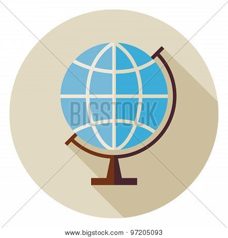 Flat Science And Education Geography World Globe Circle Icon With Long Shadow