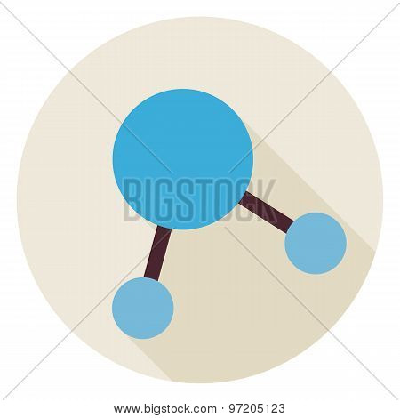 Flat Science Molecule And Atom Structure Circle Icon With Long Shadow