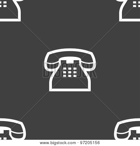 Retro Telephone Handset Icon Sign. Seamless Pattern On A Gray Background. Vector