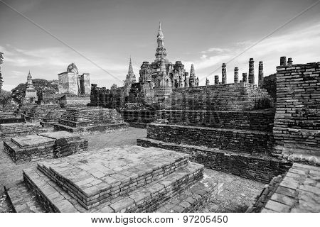 Black and White. Sukhothai historical park, Mahathat Temple ,Thailand.