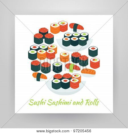 Flat Style Circle Vector Set Of Food Sushi Sashimi And Rolls Objects Over White Paper