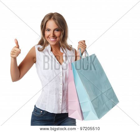 Smiling Pretty Woman With Paper Bags Isolated On White