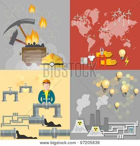 Energy Concept: Petroleum, Coal, Nuclear Power Plants, Nuclear Energy, Electricity,  vector icons