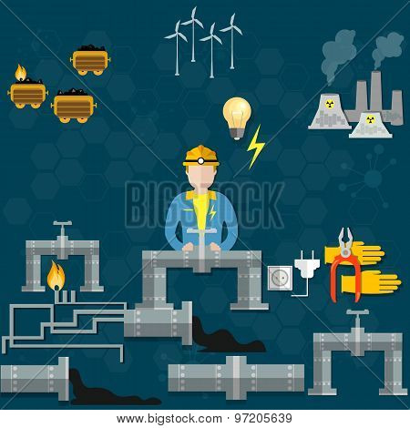 Electricity, Extraction Of Petroleum, Oil Production, Energy Sources,nuclear Station,vector