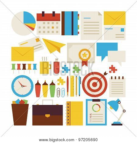 Flat Style Vector Collection Of Business Workplace And Office Objects Isolated Over White