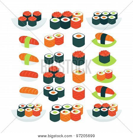 Flat Style Vector Collection Of Food Sushi Sashimi And Rolls Objects Isolated Over White