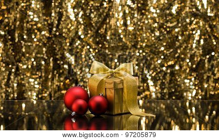 Gold Present And Christmas Tree Baubles