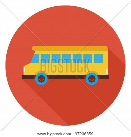 Flat Transportation School Bus Circle Icon With Long Shadow