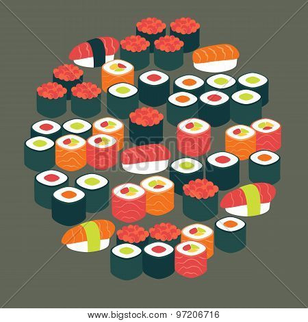 Restaurant Food Sushi Sashimi And Rolls Vector Flat Design Circle Shaped Objects Set