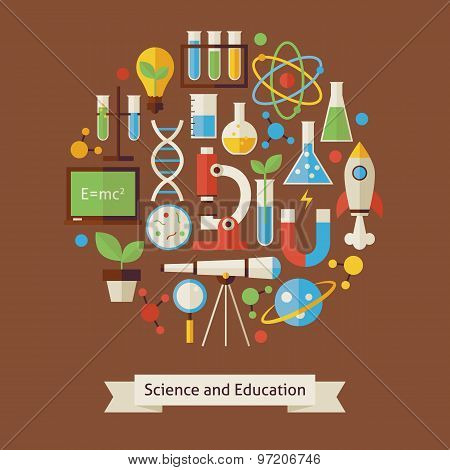 Vector Flat Style Education And Science Objects Concept