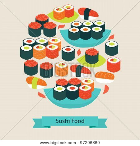 Vector Flat Style Food Sushi Sashimi And Rolls Objects Concept