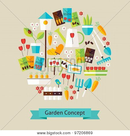Vector Flat Style Nature Gardening And Environment Objects Concept