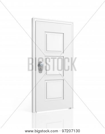Closed White Door Isolated On A White Background